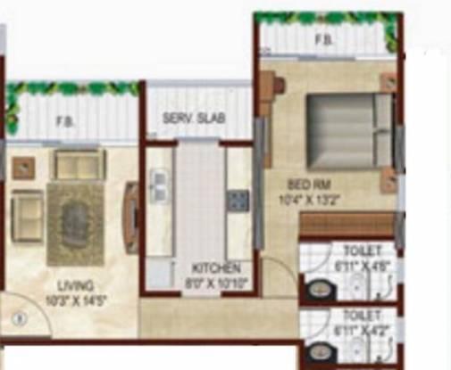 Srishti Heights (1BHK+2T (595 sq ft) Apartment 595 sq ft)
