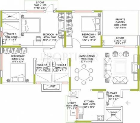 Sobha Amethyst (3BHK+3T (1,653 sq ft) Apartment 1653 sq ft)