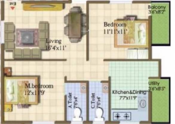 Sowparnika Ananda (2BHK+2T (900 sq ft) Apartment 900 sq ft)