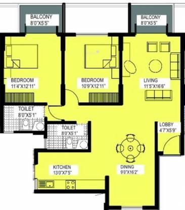 Alpine Viva (2BHK+2T (1,239 sq ft) Apartment 1239 sq ft)