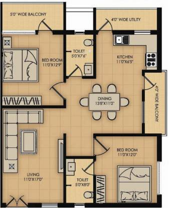 Sindhu Amazon (2BHK+2T (1,221 sq ft) Apartment 1221 sq ft)