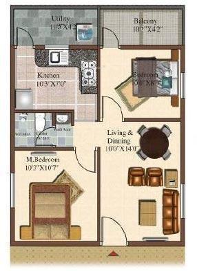 Sowparnika Sai Krishna (2BHK+2T (723 sq ft) Apartment 723 sq ft)