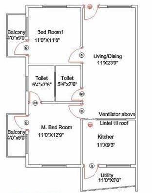 Kristal Citrine (2BHK+2T (1,100 sq ft) Apartment 1100 sq ft)