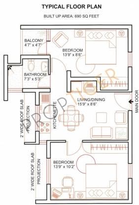 Suraj Trinity Golden Era (2BHK+2T (690 sq ft) Apartment 690 sq ft)