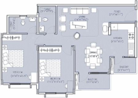 Oceanus Ebony (2BHK+2T (1,067 sq ft) Apartment 1067 sq ft)