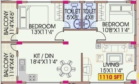 Mahaveer Dazzle (2BHK+2T (1,110 sq ft) Apartment 1110 sq ft)