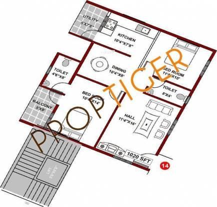 Mahaveer Regal (2BHK+2T (1,020 sq ft) Apartment 1020 sq ft)