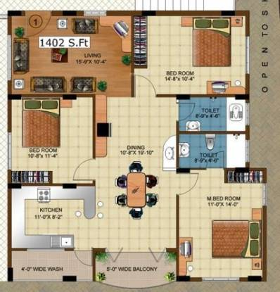 DSR Fairmont (3BHK+2T (1,402 sq ft) Apartment 1402 sq ft)