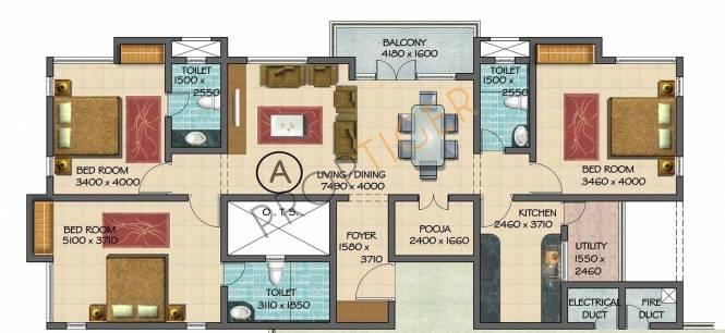 Devinarayan Lexington Terrace (3BHK+3T (1,970 sq ft)   Pooja Room Apartment 1970 sq ft)