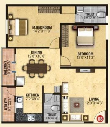 BM BM Lotus (2BHK+2T (1,094 sq ft) Apartment 1094 sq ft)