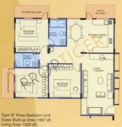 Ittina Anu (3BHK+2T (1,567 sq ft) Apartment 1567 sq ft)