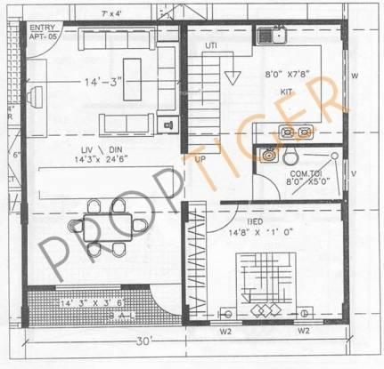 Elite Kempton Park Apartments (2BHK+2T (1,400 sq ft) + Study Room Apartment 1400 sq ft)