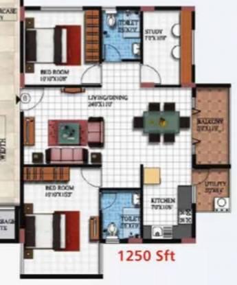 Vishnu Parimala Sunrise (2BHK+2T (1,250 sq ft) + Study Room Apartment 1250 sq ft)
