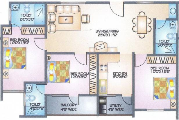 Ittina Abha (3BHK+3T (1,433 sq ft) Apartment 1433 sq ft)