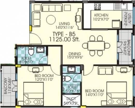 Chitrakut Environs (2BHK+2T (1,125 sq ft) Apartment 1125 sq ft)