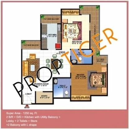 DSR Krishna Royale (2BHK+2T (1,250 sq ft) Apartment 1250 sq ft)