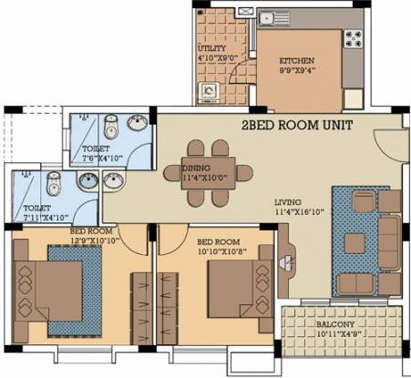 NCC Nagarjuna Serene (2BHK+2T (1,095 sq ft) Apartment 1095 sq ft)