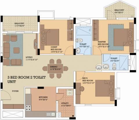 NCC Nagarjuna Serene (3BHK+2T (1,437 sq ft) Apartment 1437 sq ft)