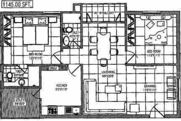 Pavani Fortune (2BHK+2T (1,145 sq ft) Apartment 1145 sq ft)