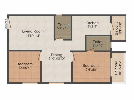 Innovative Aspen Woods (2BHK+2T (1,085 sq ft) Apartment 1085 sq ft)