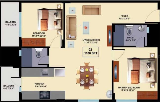 Innovative Aspen Woods (2BHK+2T (1,100 sq ft) Apartment 1100 sq ft)