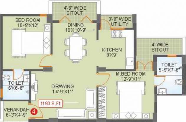 Saroj Habitat (2BHK+2T (1,190 sq ft) Apartment 1190 sq ft)