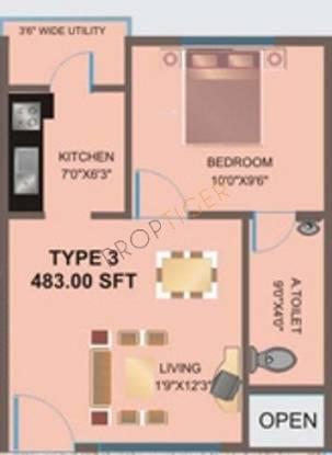 Prabhavathi Paradise (1BHK+1T (483 sq ft) Apartment 483 sq ft)