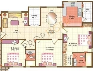 Fortuna Gem (3BHK+2T (1,164 sq ft) Apartment 1164 sq ft)