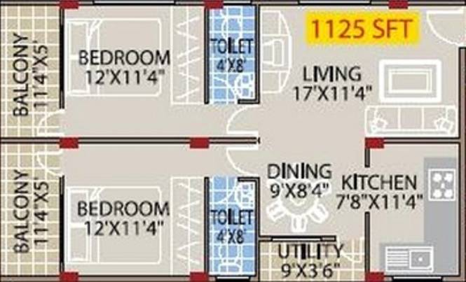 Mahaveer Palms (2BHK+2T (1,125 sq ft) Apartment 1125 sq ft)