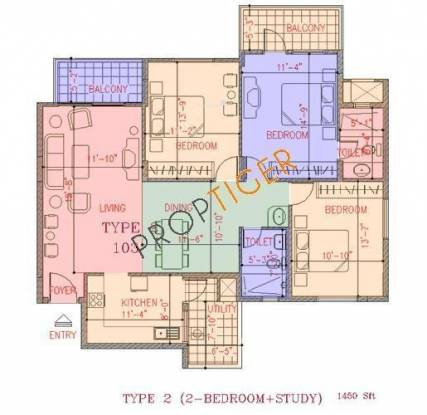 NCC Nagarjuna Green Ridge (2BHK+2T (1,450 sq ft)   Study Room Apartment 1450 sq ft)