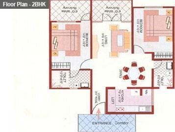 Gopalan Gardenia (2BHK+2T (1,260 sq ft) Apartment 1260 sq ft)