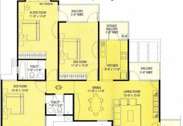 Agarwal Aditya Mega City (3BHK+2T (1,895 sq ft) Apartment 1895 sq ft)