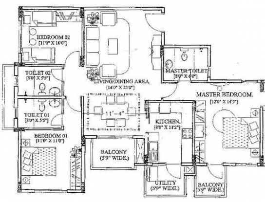 Purva Purva Belmont (3BHK+3T (1,536 sq ft) Apartment 1536 sq ft)