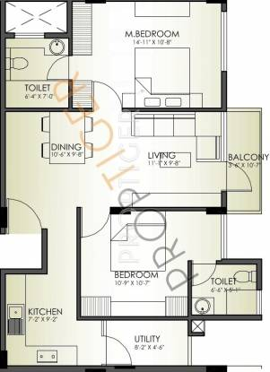 Skanda Nest (2BHK+2T (1,034 sq ft) Apartment 1034 sq ft)