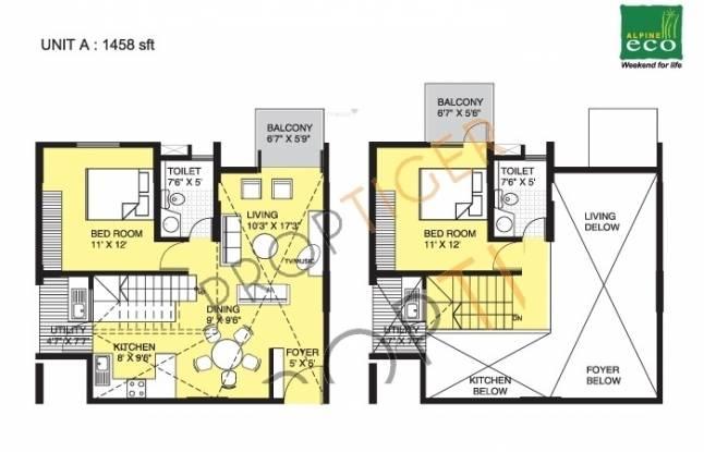 Alpine Eco (2BHK+2T (1,458 sq ft) Apartment 1458 sq ft)