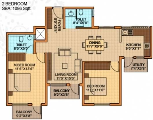 Oceanus Royale (2BHK+2T (1,096 sq ft) Apartment 1096 sq ft)