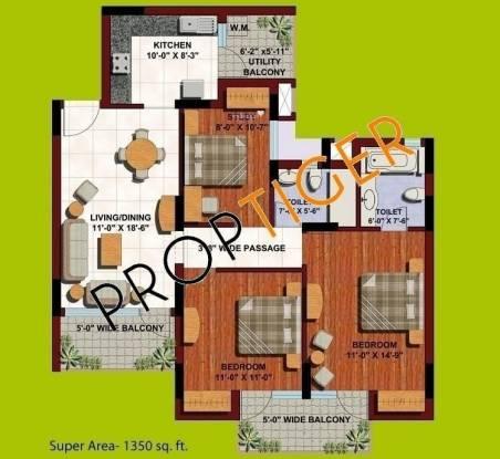 ABA Orange County (3BHK+2T (1,350 sq ft) Apartment 1350 sq ft)