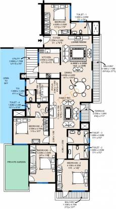 Sobha Fiorella (4BHK+5T (2,854 sq ft)   Servant Room Apartment 2854 sq ft)