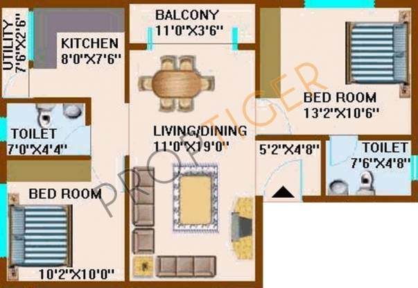 CMRS Periwinkle Residency (2BHK+2T (1,010 sq ft) Apartment 1010 sq ft)