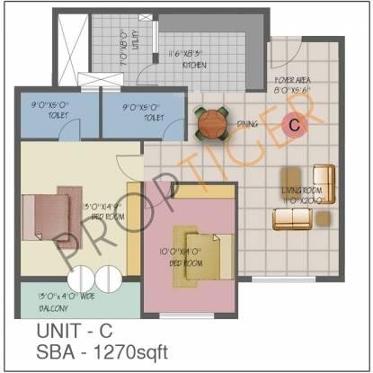 Jain Sorina (2BHK+2T (1,270 sq ft) Apartment 1270 sq ft)
