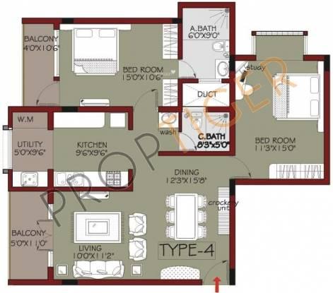Habitat Mayflower (2BHK+2T (1,355 sq ft) Apartment 1355 sq ft)