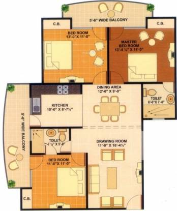 JKG Amba G Residency (3BHK+2T (1,535 sq ft) Apartment 1535 sq ft)