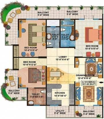 Rishabh Rishabh Platinum (3BHK+3T (1,911 sq ft) Apartment 1911 sq ft)