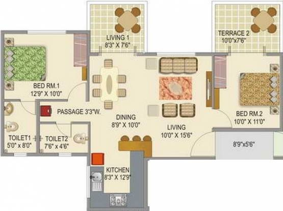 Mont Vert Seville (2BHK+2T (815 sq ft) Apartment 815 sq ft)