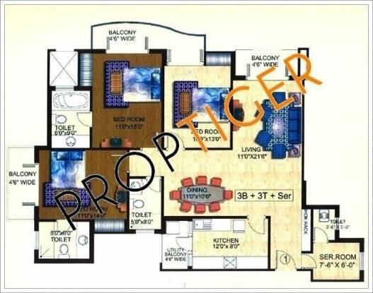 Mapsko Krishna Apra Sapphire (3BHK+3T (1,890 sq ft)   Servant Room Apartment 1890 sq ft)