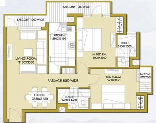 ATS Haciendas (2BHK+2T (1,100 sq ft) Apartment 1100 sq ft)