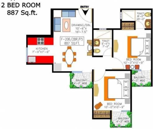 Rishabh Cloud9 Towers (2BHK+2T (887 sq ft) Apartment 887 sq ft)