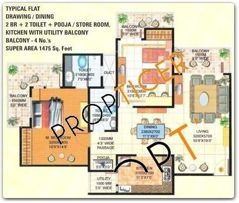 Amrapali Royal (2BHK+2T (1,450 sq ft)   Pooja Room Apartment 1450 sq ft)