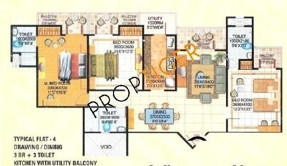 Amrapali Royal (3BHK+3T (1,850 sq ft) Apartment 1850 sq ft)