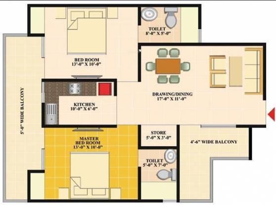 Nirala Eden Park II (2BHK+2T (1,095 sq ft) Apartment 1095 sq ft)